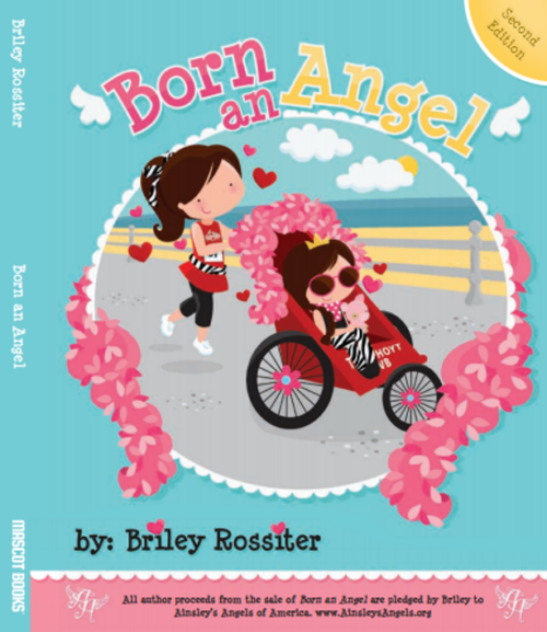 """sticker with text """"Born an Angel"""" and a cartoon of an Angel rider and runner"""
