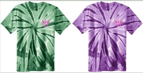 green and purple tie-dye shirts that has Ainsley's Angels of America logo