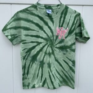 green tie-dye shirt with Ainsley's Angels of America logo