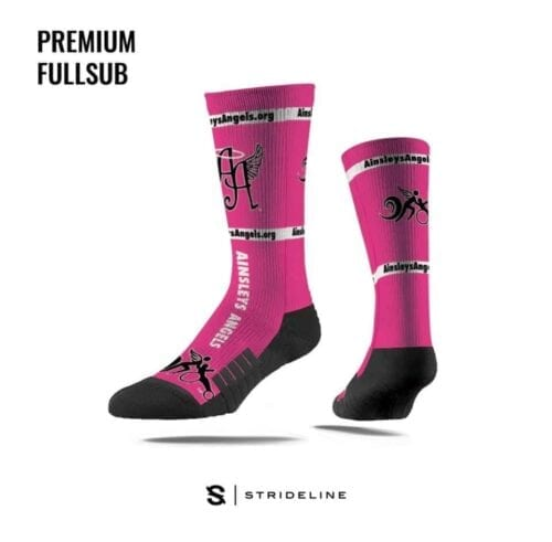 pink and black Strideline socks with Ainsley's Angels of America logo