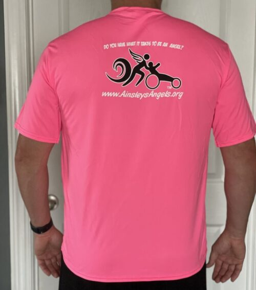 pink shirt with the logo of Ainsley's Angels of America's race series at the back